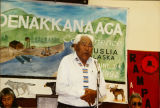 Peter John speaking at the 1992 Denakkanaaga Conference.