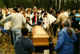 Placement of the coffin.