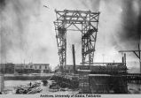 Construction of a steel bridge in Fairbanks, Alaska.