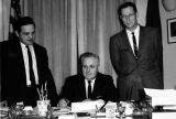 Governor signs Gill Net Bill, 1965. Rep. Joe McGill and Sen. Dave Harrison.