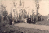 Entrance posts, Alaska Agricultural College and School of Mines - September 13, 1922 - Dedication.