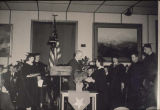Commencement in Library - 1944. Edna Beyer, Ron Twogood, Jake Stampalia.