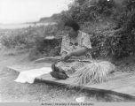 Preparing grass for baskets