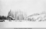 Fisherman's log cabin home on the Tanana