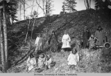 Group of Native Alaskans on a hillside