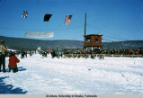Finish-line North American Dog Sled Championship.