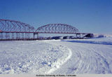 New bridge and ice bridge over Tanana [River] at Nenana Alaska.