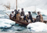 Painting of people in two small boats among ice floes, ship in distance.