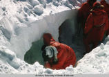Digging ice caves at Bonaparte's Retreat.