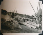 Putting in a bridge at lower Liard River, Y.T.