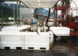 Fish on a conveyer belt outside a fish processing facility.