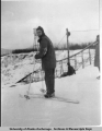 Skier in front of Ship Creek ski jump, 1944.
