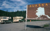 Alaska sign at border crossing, July 1978.