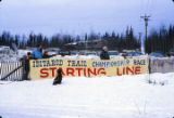 Iditarod race starting line sign, 1973.