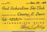 Fort Richardson Ski Club membership card, 1944.