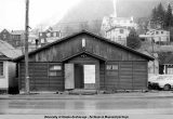 Exterior of Alaska Native Brotherhood hall on Willoughby Street, Juneau, April 10, 1975.