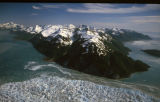 Alaska. Hubbard Glacier. Disenchantment Bay, right. Russell Fjord, left.