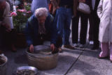 Don Stein demonstrating gold panning.