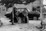 Edie and Wilma Eckert with malamute.