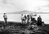 Survey team landing on Umnak Island Sep. 1940.