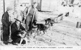 Indian Dog Team on the Alaska Highway. Yukon, Canada.