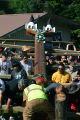 Totem pole raising in Klawock.