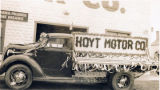 Hoyt Motor Co. parade float on truck.