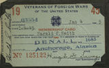 Veterans of Foreign Wars membership card.