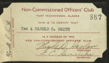 Non-Commissioned Officers' Club membership card.
