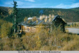 Old cabin by Forty Mile R[iver], Taylor Hi-way Sept. 10, 54.