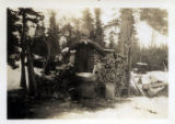 Victor Monsen at trapping cabin Naknek Lake area.