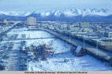 Aerial view of Fur Rendezvous carnival, Anchorage, 1968.