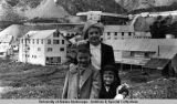 Paul and Laura Stoll with grandmother Marie Ames at Independence Mine.