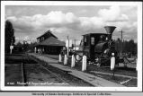 Alaska R[ail]r[oad] depot and first locomotive.
