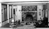 Fireplace in living room of superintendent's house, Independence Mine, 1939.