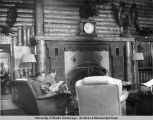 USO log cabin interior. Anchorage 1942-1945.