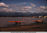 Floatplanes on lake in Anchorage.