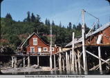 Fisherman's cabin on Halibut Cove. Shows how high the tides can be.