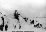 Chugach Ski Meet at ski jump tower at Watertank Hill, 1946.
