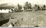 Chow line in front of mess hall, Fort Raymond, 1941-1943.