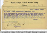 Telegram from US Attorney, John Rustgard to Honorable Walter E. Clark in Washington D.C., February...