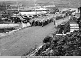 Unit dress parade, 179th Station Hospital, Adak, August 1943-October 1945.