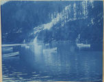 Boats and a waterfall, Southcentral Alaska, 1898.