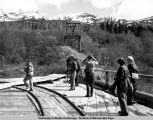 Aerial tramway used to transport copper ore, Kennecott 1953.