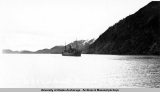 Army transport ship coming into Seward Harbor, 1941.