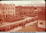 Soldiers marching in parade.