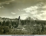 Drill rig on Holmes' housesite [May Creek, ca. 1945].