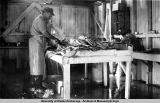 Bill Ritter cleaning king crab, Homer, Aug. 1952.