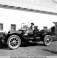 Charles A. Creamer in his 1908 Chalmers car, Aug. 1953.