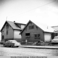 Federal Jail, Anchorage. Rear view with wall panel kicked out, 1949.